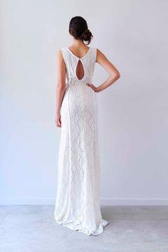 Beach Bridal: Boho Embellished Lace Gown with keyhole back on Etsy, $699.95 AUD