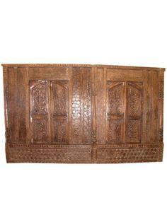 18C SHEKHAWATI CARVED ANTIQUE ARCHITECTURAL WALL INDIA TEAK RARE PANEL 11ft