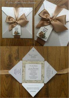 Champagne rose Fold Over Invitation