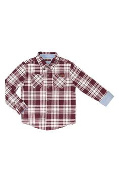 Free shipping and returns on 7 For All Mankind® Long Sleeve Plaid Flannel Shirt (Toddler Boys & Little Boys) at Nordstrom.com. Topstitch-outlined patch pockets at the chest add to the rugged, old-school look of a plaid button-front shirt cut from lightweight cotton flannel and finished with chambray lining at the collar and cuffs.