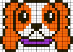 DIY; Cavalier King Charles Spaniel Perler Hama Bead Pattern or use it as Cross Stitch Pattern / Bead Sprite. Kandi Patterns