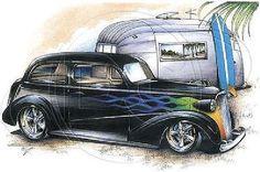 1937 1938 Sedan Car with Trailer Mens T Shirt Brent Gill Design