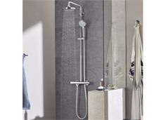 Buy Grohe Euphoria Thermostatic 180 Bar Mixer Shower with Shower Kit + Fixed Head today. Grohe Part No: Free UK delivery in approx 4 working days. Bathroom Images, Bathroom Wall, Modern Bathroom, Small Bathroom, Bathroom Ideas, Bathrooms, Bathroom Inspiration, Shower Kits, Shower Hose