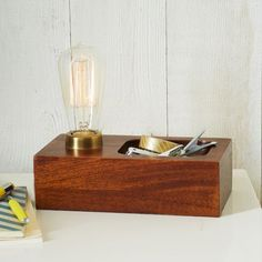 Wood Block Bulb Lamp with tray.