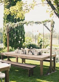 #wedding ideas - use Mom's picnic table as head table