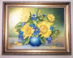 натюрморт подсолнухи лепка картина панно синяя ваза холодный фарфор соленое тесто