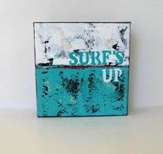 Word art painting on canvas Original acrylic Surf's by BrookeHowie