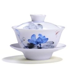 Chinese Ding Kiln Ceramic tea cup Gaiwan tea bowl hand painting Lotus 160ml