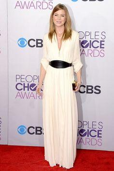 Lanvin  длинное белое платье рубашка People's Choice Awards 2013 Эллен Помпео в платье Lanvin