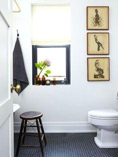 Before After Mandys Handsome Bath Reno Honeycomb Tilehexagonblack Hex Tile Floor  Black And White Hexagon Uk