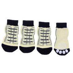 Super Deal 4pcs S/M/L/XL Pet Dog Sneakers Shoelace Pattern Non-slip Socks Paws Cover Shoes