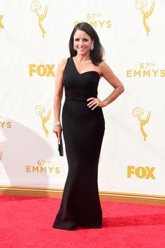 Julia Louis-Dreyfus - The Cut - Emmy Awards 2015 - Dress by Safiyaal; jewelry by Chopard.