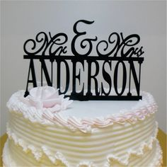 Wedding Monogram Cake topper Mr and Mrs Personalized Acrylic  Cake Topper With Your Last Name - Special Laser Cut Initial Cake Topper