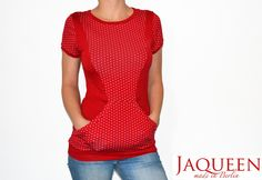 Shirt rot Punkte Tasche von Jaqueen auf DaWanda.com