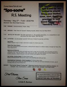 Relief Society Spa Night Ideas