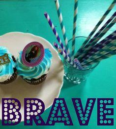 20 retro striped paper straws with handmade custom toppers BRAVE PARTY purple turquoise TEAL aqua princess Merida