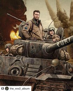 "#Repost @the_ww2_album with @repostapp  Fury ______ Awesome Illustration by Rory Kurtz showing three of the five Sherman tank crew; actors Logan Lerman (assistant driver/machine gunner) Brad Pitt (tank commander) and Shia LaBeouf (gunner) in their M4A3E8 ""Fury"" Germany April 1945.  _ If you haven't seen the movie Fury I recommend it. Not entirely realistic historically but a pretty good WW2 flick nonetheless. Released in 2014. . #MilitaryArtSeries . #Historybuff #Historygeek #Historynerd…"