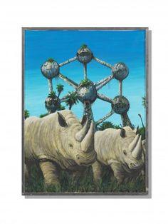 FRED ENGELBERT KNECHT (1934 - 2010) Nashorn Öl auf Leinwand H 79 cm. B 60 cm.   Provenienz: - Galerie Schürch + Gonzenbach, Zürich. - Schweizer Privatsammlung.  Signiert. Gerahmt.