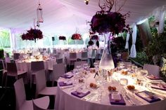 elegant purple wedding centerpieces