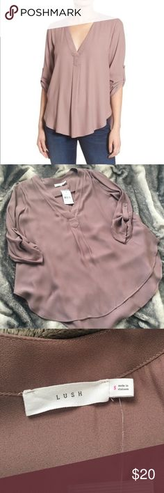 NWT Lush Sheer Top Never worn, tags are still attached! Sheer and lightweight, but not see through, perfect for spring! High, low style! Lush Tops Blouses