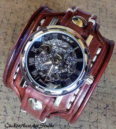 Steampunk Leather Watch Cuff Men's watch by CuckooNestArtStudio, $139.00