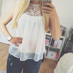 Hot Cheap White Lace Floral Hollow Chiffon Women T-Shirt Sleeveless Good Quality T-shirts For Women Tank Tops Ladies T-shirts