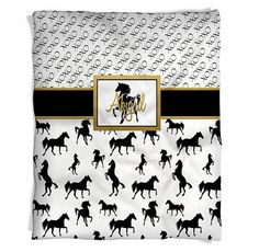 Horse Fleece Throw Blanket - Gold Horse Print -  Horse Throw - Personalized blankets for kids - Blac