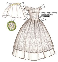 1950s Tea Length Wedding Dress with Scalloped Lace and Apple Blossoms   Liana's Paper Dolls