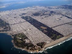 """Golden Gate Park and S.F. aerial view """"San Francisco has one drawback -- 'tis hard to leave"""" --Rudyard Kipling"""