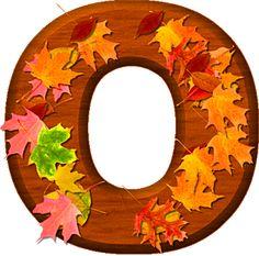 Presentation Alphabets: Cherry Wood Leaves Letter O