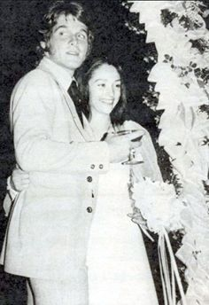 Dean Paul Martin and Olivia Hussey on their wedding day