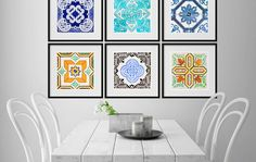 What looks good on tiles, also looks good printed on paper. Whether they are Moroccan mosaics or Portuguese azulejos, art inspired by tile patterns makes for captivating wall decoration.