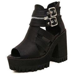 SheIn(sheinside) Black Buckle Zipper High Heel Sandals