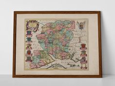 Southampton Old Map, originally created by Willem Janszoon Blaeu, now available as a 'museum quality' poster print.  #Aldershot #Andover #Basingstoke #Eastleigh #Fareham #Farnborough #homedecor #Fleet #travelposter #interiordesign #Gosport #hahnemuhle #Havant #Horndean #oldmap #Portsmouth #Southampton #Winchester