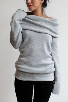 Sweater: grey, slouchy, blouse, grey, pullover, slouchy sweater ...