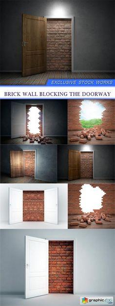 Brick wall blocking the doorway 7X JPEG  stock images