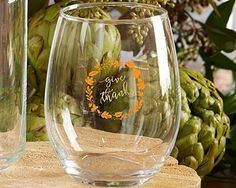 Give Thanks Wreath Motif 15 oz. Stemless Wine Glasses (Set of 4)