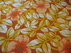 "Vtg Tampella FINLAND Fabric ""Akilles"" Orange Gold Coral TIKI Bright Flowers 4ft"