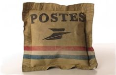 Re-purposed Vintage Canvas Postes Pillow~Enjoy Today's Steal from DECOR STEALS www.decorsteals.com previously WUSLU