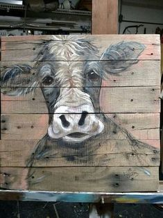 Pallet painting of a cow Reclaimed wood art! Cow Painting, Pallet Painting, Pallet Art, Painting & Drawing, Reclaimed Wood Art, Barn Wood, Cow Art, Animal Paintings, Paintings Of Cows