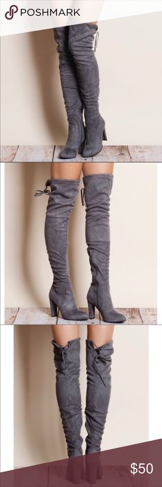 Faux Suede Grey Boots Over the Knee, Sexy faux suede boots. Brand New with box. Shoes Over the Knee Boots