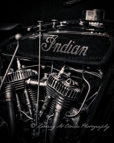 motorcycle decor vintage Indian motorcycle by LookingAtClouds, $25.00