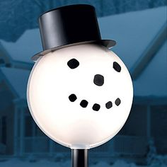 shamrock plastic snowman head light post cover lamp lightpost