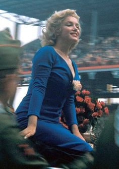 Marilyn Monroe at Ebbets Field, New York on May 12, 1957, where she made the ceremonial first kick in a soccer match between the USA and Israel
