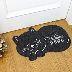 Black Cat Welcome Mat $24.99   #cats #cat #kittens #catlover #kitty #kitties #cutecat #meow #mainecoon #kitten You love cats don't you? If you consider yourself aTrue Cat Lover, then there's absolutely no doubt that you need the amazing Cat Shape Floor Mat! It's perfect size(16 inches x 24 inches) and waterproofness make it perfect for anywhere in your home. From outside your bedroom to the kitchen!  Use:Floor,Table,Door,Bath Feature:Wrinkle-Resistant, Waterproof, Anti-Slip…