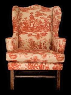 19TH CEN POSSIBLY 18TH CEN NEW ENGLAND WING CHAIR IN GENERAL GEORGE WASHINGTON TOILE WITH LADY LIBERTY CHESTNUT FRAME