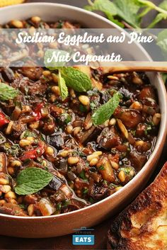 Caponata: Eggplant (plus other vegetables), a sweet-and-sour sauce, and a ton of extra-virgin olive oil.