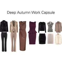An example 10 piece work capsule. Best suited to semi-formal office environments. Shoes and accessories are classed as extra's and as such have not been included. Dark Autumn, Fashion Looks, Work Fashion, Deep Autumn Color Palette, Cooler Look, Fall Capsule Wardrobe, Autumn Clothes, Fall Looks, Lanvin