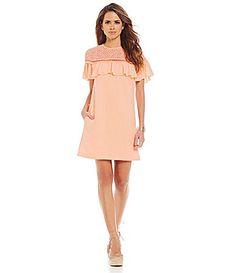 Gianni Bini Sady Lace Shoulder Ruffle Short Sleeve Dress #Dillards