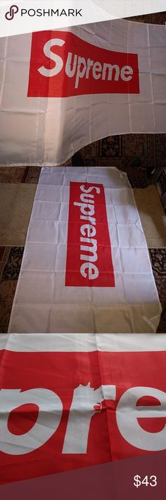 All New {SUPREME×SUPRANOS}Pure white Version 3 This is so damn beautiful. Almost to pure to touch.. massive 5ft weather Resistant work of art. Unique 4 D-RING design allows hanging in all directions, including horizontal from the ceiling. Matching adhesive hooks included. Supreme Accessories